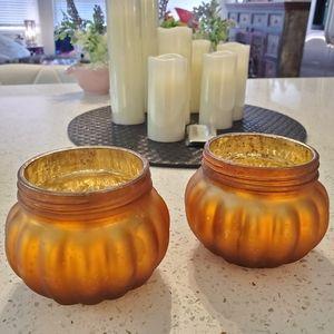 MERCURY GLASS EFFECT PUMPKIN CANDLE HOLDER